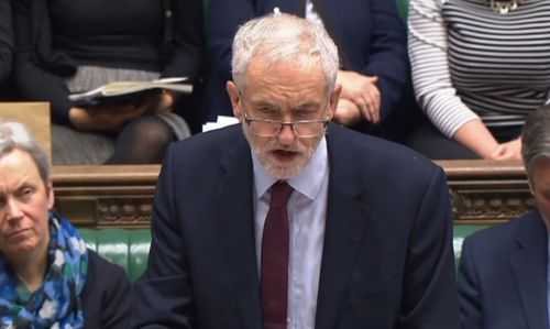 """Opposition leader Jeremy Corbyn said the British PM had """"utterly failed""""."""