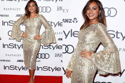 Fresh from her epic performance at Eurovision, Jessica Mauboy stuns in gold.