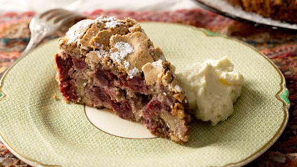 Sour cherry & walnut cake with whipped honeyed ricotta