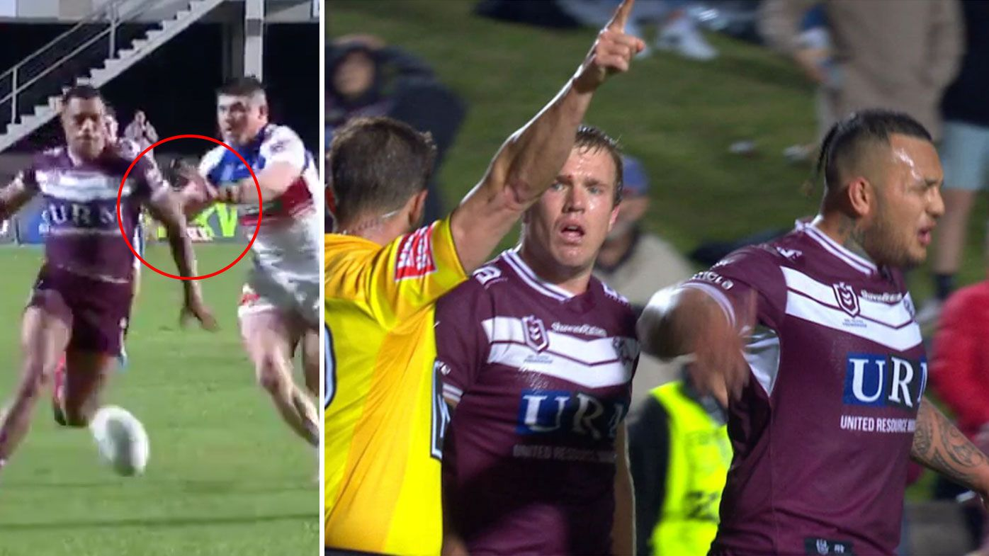 UPDATE: Chaos as Manly star Addin Fonua-Blake sent off after controversial final play