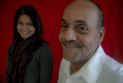 Rafael Ruiz, 60, right, and his lawyer from the Innocence Project, Seema Saifee.