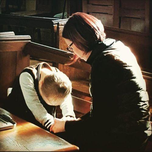 Sarah McFadyen and her son at church.