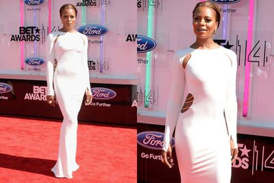 Move over Paris! Model <br/><br/>Eva Marcille dabbles in the cut-out pool in this bright white number.