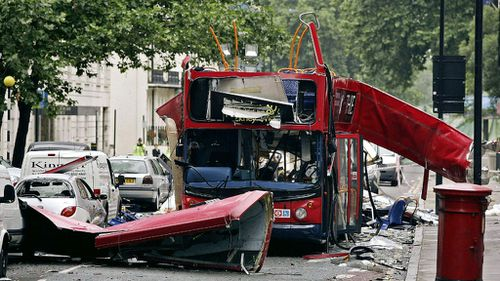 The wreckage of the number 30 bus that was blown up by a suicide bomber at Tavistock Square in London. (AAP)