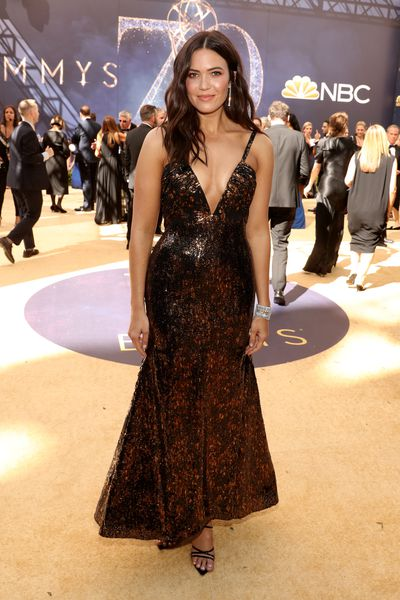 Actress Mandy Moore, incustom Rodarte, at the 70th Annual Emmy Awards