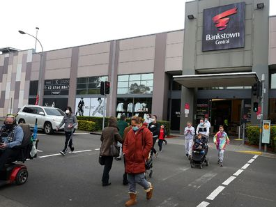 Bankstown Central shopping centre people in car park