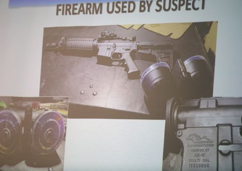 The firearm used by the shooter Connor Betts, 22, is projected on a screen during a press conference about a mass shooting that left ten dead, including the shooter, and 26 injured in Dayton , Ohio