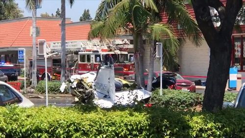 Five people have died after a light plane crashed into a carpark in Southern California.