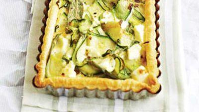 """Recipe:<a href=""""http://kitchen.nine.com.au/2016/05/17/10/01/zucchini-fetta-mint-tart"""" target=""""_top"""">Zucchini, fetta & mint tart</a>"""