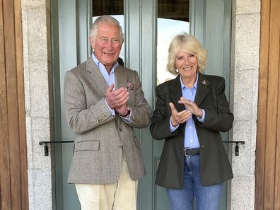 Prince Charles and Camilla Duchess of Cornwall Clap for Carers Birkhall Scotland, May 2020