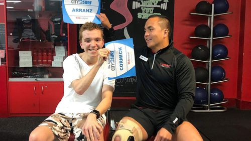 Elijah Arranz will compete in this year's City to Surf race, with the help of his trainer who will push him in his wheelchair.