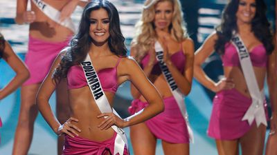 Miss Universe, Colombian Paulina Vega on stage during the swimsuit competition. (AAP)