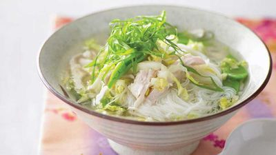 "For a cooling change to this super easy <a href=""http://kitchen.nine.com.au/2016/05/13/12/05/chicken-and-rice-noodle-soup"" target=""_top"">chicken and rice noodle soup</a>, keep the snow peas to one side and do not cook them. Once the soup is all done, chill it down and then add the snow peas for added fresh crunch."