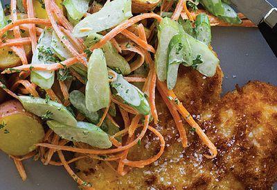 Chicken schnitzel with potato salad