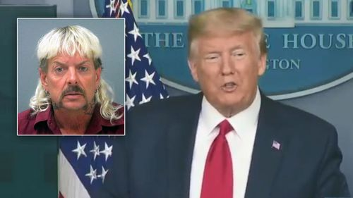 Joe Exotic inset, and US President Donald Trump.