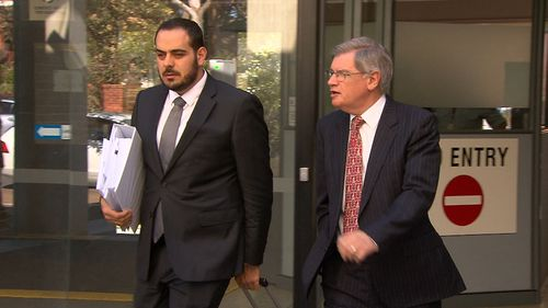 John Kearsley (right) leaves court with his laywer today. (9NEWS)