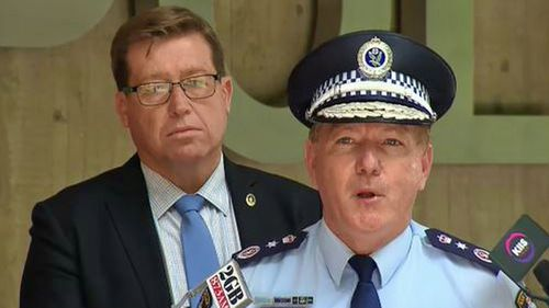 Commissioner Michael Fuller speaking at Sydney Police Centre at Surry Hills.