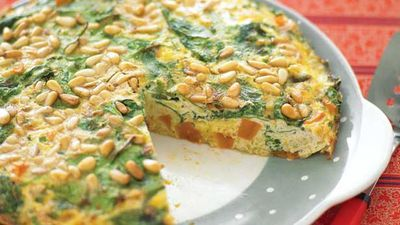 "Recipe:&nbsp;<a href=""http://kitchen.nine.com.au/2016/05/13/11/29/sweet-potato-and-pinenut-frittata"" target=""_top"">Sweet potato and pinenut frittata</a>"