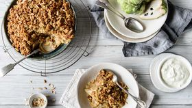 Custard apple and pear crumble