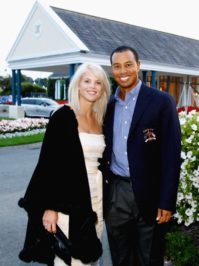 Tiger Woods of USA poses with his ex- wife Elin Nordegren at The Welcome Dinner after the first official practice day of the 2006 Ryder Cup at The K Club on September 19, 2006 in Straffan, Co. Kildare, Ireland.