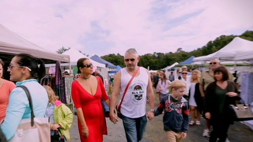 Maha Al Musa and her husband in Byron Bay. (Channel 9)