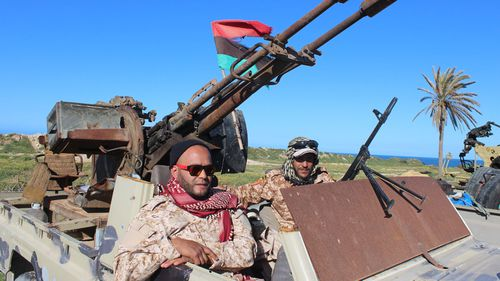 Vehicles and militants, reportedly from the Misrata militia, gather to join Tripoli forces, in Tripoli, Libya.