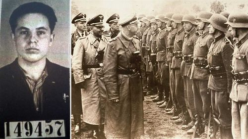 Michael Karkoc (left) and the unit he served with being inspected by Heinrich Himmler. (AAP)