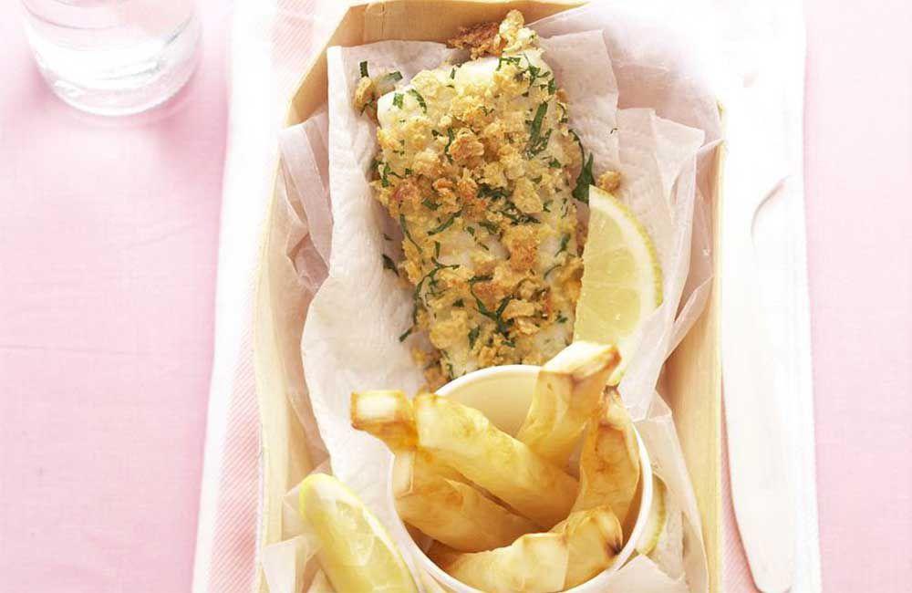 Rice-crumbed fish and chips. Photographer: Jason Hamilton. Stylist: Justine Osborne