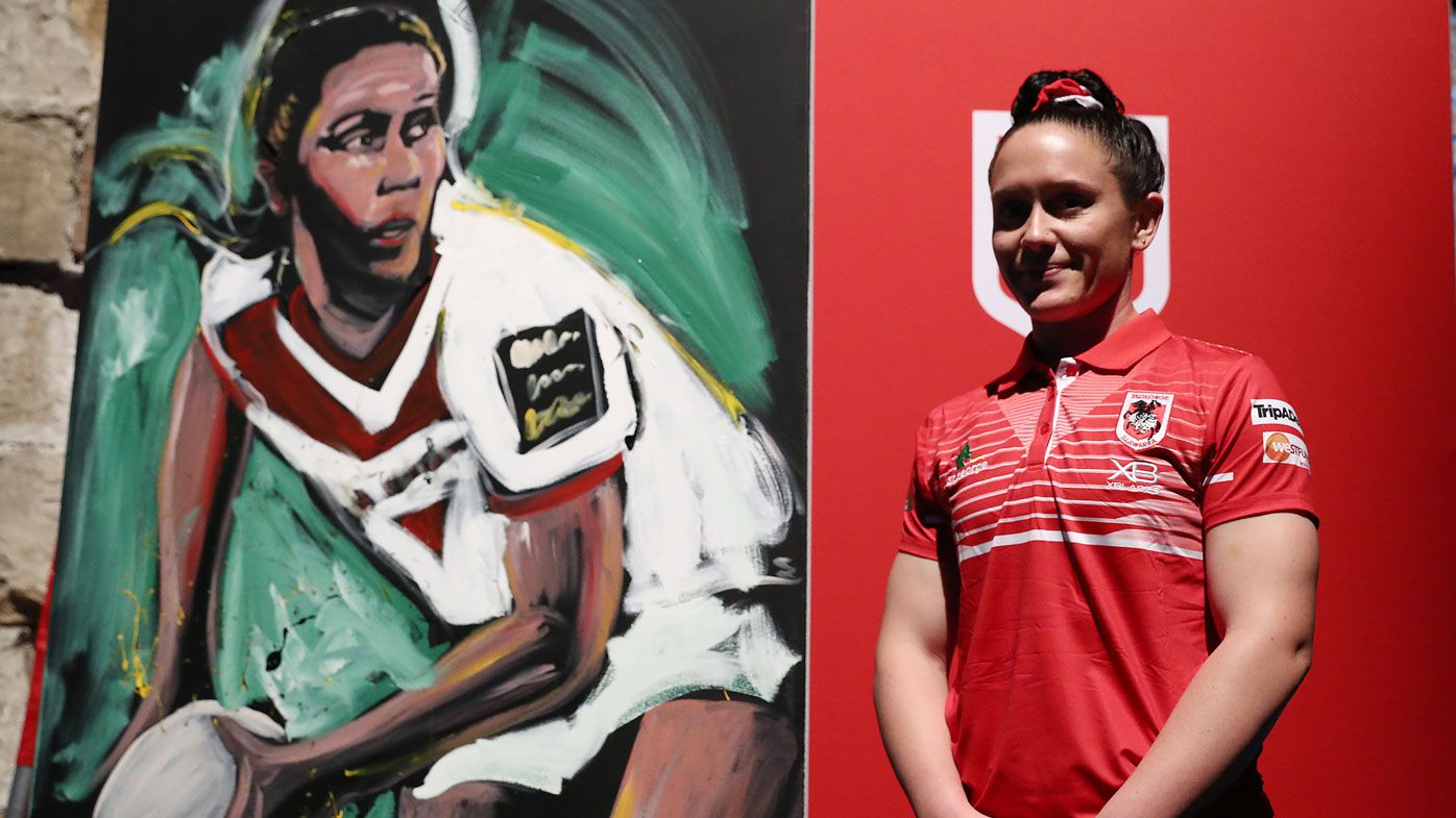 Brittany Breayley of the Dragons poses next to a painting of herself during the NRL Women's Premiership 2019 Season launch