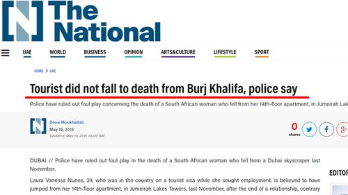 A report in Abu Dhabi newspaper, The National, denying Laura Nunes committed suicide from Burj Khalifa.