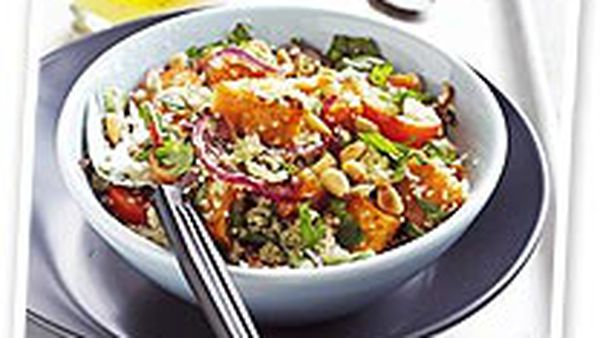 Roast kumera and couscous salad with herb dressing
