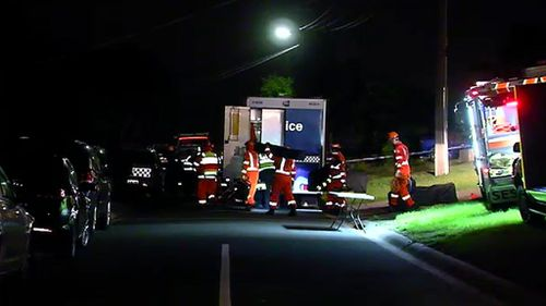 Emergency services at the scene last night. (9NEWS)