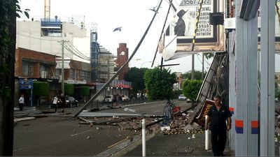 A collapsed building facade in Rockdale. (Gorana Coric)