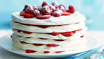 "Recipe:&nbsp;<a href=""http://kitchen.nine.com.au/2016/05/16/20/03/strawberries-and-cream-meringue-cake"" target=""_top"">Strawberries and cream meringue cake</a>"