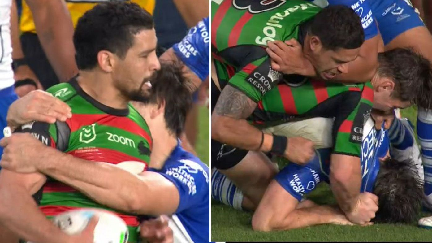 Lachlan Lewis avoids suspension for half-time brain explosion in Bulldogs-Rabbitohs clash