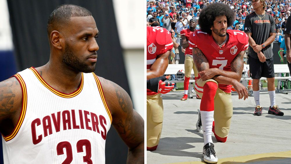 LeBron James and Colin Kaepernick (R). (AAP)