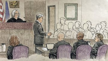 This courtroom sketch provided by Cedric Hohnstadt depicts the opening argument by Hennepin County prosecutor Patrick Lofton.
