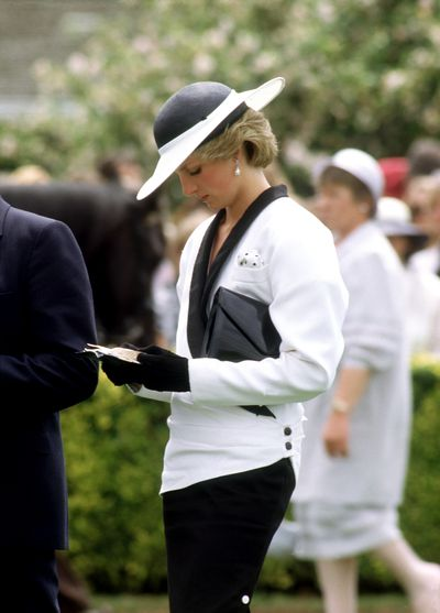 Princess Diana was the glamour highpoint for Felmington Racecourse in this Bruce Oldfield suit and Frederick Fox hat in 1985.