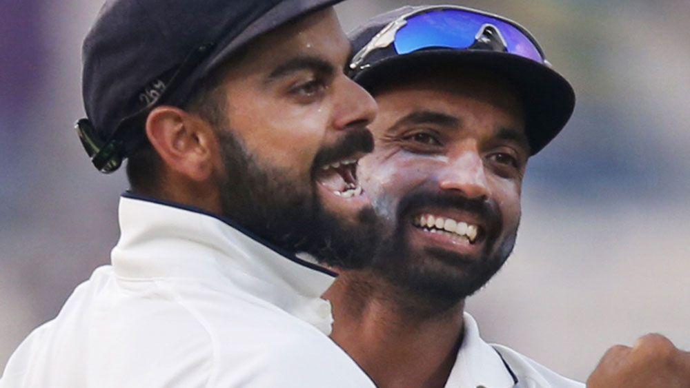 India captain Virat Kohli celebrates the win over NZ. (AAP)