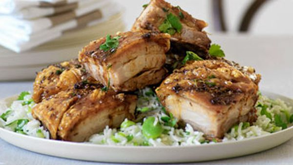 Crisp pork belly & lemon rice with broadbeans
