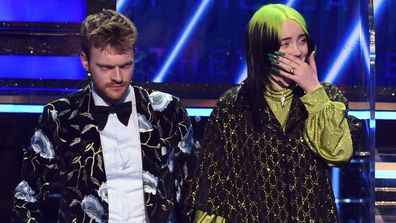 Finneas O'Connell and Billie Eilish accept the Album of the Year award for 'When We All Fall Asleep, Where Do We Go?'.