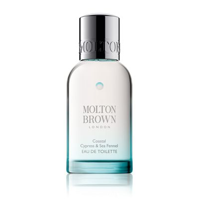 "<p><a href=""https://www.moltonbrown.com/store/fragrance/eau-de-toilette/coastal-cypress-sea-fennel-eau-de-toilette/KEJ226/"" target=""_blank"">Molton Brown CoastalCypress &amp; Sea Fennel EDT, $88.</a></p> <p> The scent of a sea-soaked adventure, this sporty, outdoorsy fragrance features classic marine notes with cold spices, Australian sea fennel, salt-sprayed cypress and waves of cardamom and jasmine.</p>"