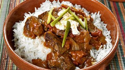 Beef goulash with rice