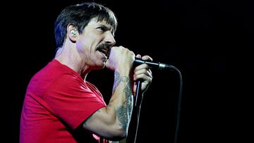 Red Hot Chili Peppers lead singer Anthony Kiedis at the band's Sydney show last week.