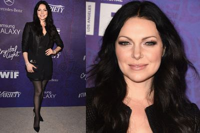 <i>Orange is the New Black</i> and <i>That '70s Show</i> star Laura Prepon opted for a classic black rocker look.