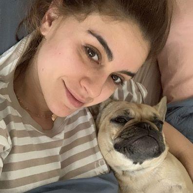 'Blockhead' Tash and her dog Gigi.