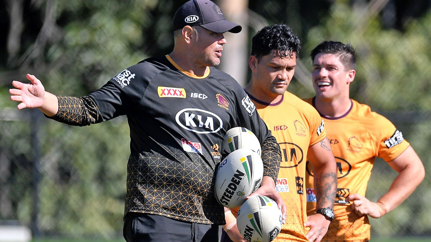 Head coach Anthony Seibold gives instructions during a Brisbane Broncos NRL training session