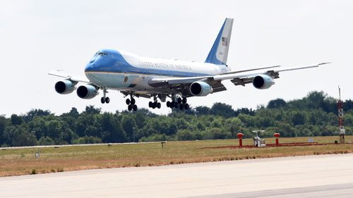 Air Force One lands at Stansted Airport. Picture: AAP