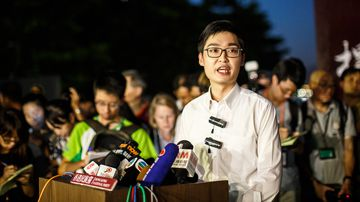 Andy Chan, 25, leader of the pro-independence Hong Kong National Party and a disqualified candidate of upcoming elections, gives a press conference at the start of a rally near the government's headquarters in Hong Kong on August 5, 2016. (AFP)