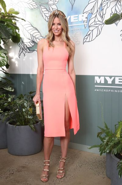 Jennifer Hawkins in Yeojin Bae at the Myer Spring Racing 2017 Launch.